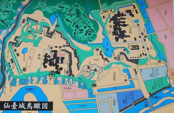 the map of Sendai catle (photo by Kotodamaya)