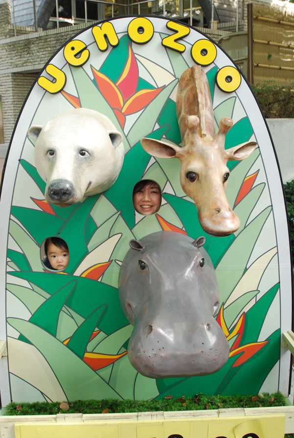 face-in-the-hole board at Ueno zoo (Kotodamaya)